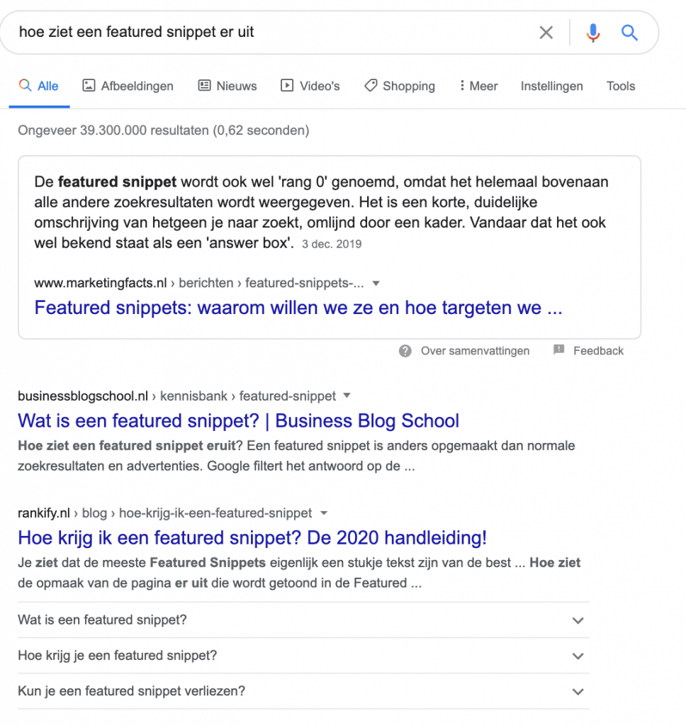 featured snippet bovenaan in google